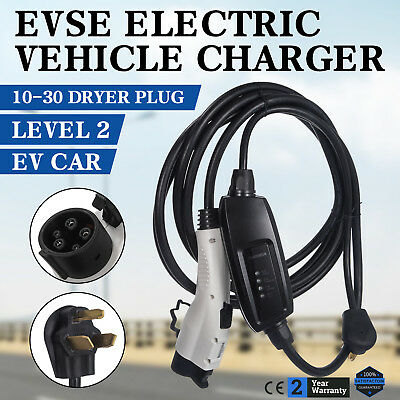 Electric Car Charger 10-30 Plug Level 2 Charger Volt Leaf 240V EVSE Universal