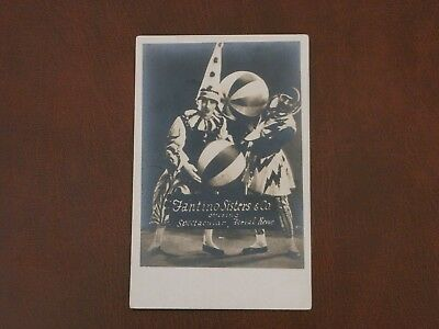Original Real Photo Clown Postcard - Fantino Sisters - Spectacular Aerial Revue.
