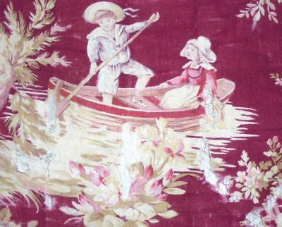 SUMMER CLEAROUT, VERY TIMEWORN MID 19th CENTURY FRENCH TOILE DE JOUY, REF 146.