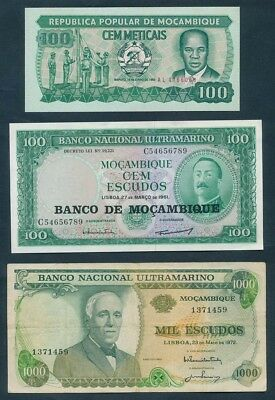 """Mozambique: 1972-83 """"COLLECTION OF 3 DIFFERENT NOTES"""""""