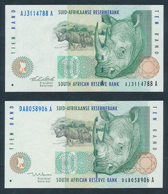 """South Africa: 1993-99 10 Rand """"2 SIGNATURE TYPES"""". Pick 123a & 123b UNC Cat $19+"""
