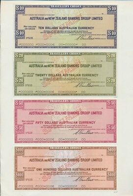 "Australia: 1978 ANZ Bank RARE SET OF 4 ""SPECIMEN"" TRAVELLERS CHEQUES"