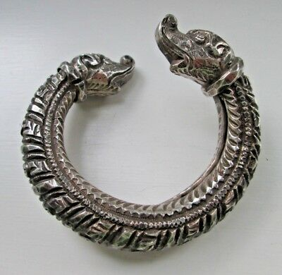 Antique Islamic Heavy Silver Bracelet With Heads On Terminals - Very Old!