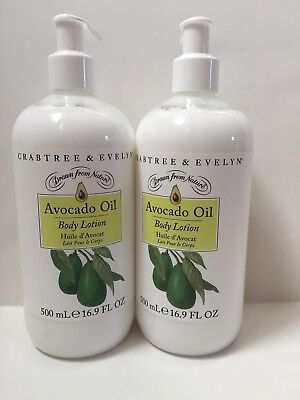 CRABTREE & EVELYN ~ AVOCADO OIL ~ BODY LOTION WITH PUMP ~ 16.9 OZ LOT SET x 2