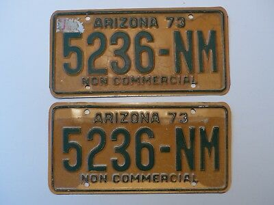 1973 Arizona Non Commercial Truck Liicense Plates PAIR # 5236-NM Y.O.M.