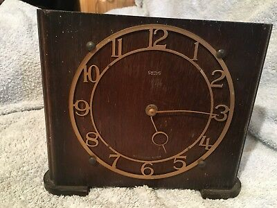 Vintage, Art Deco, Oak Cased, Smiths Mantel Clock