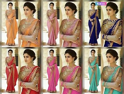 indian pakistani bollywwood ethnic chiffon georgette saree wedding party blouse.