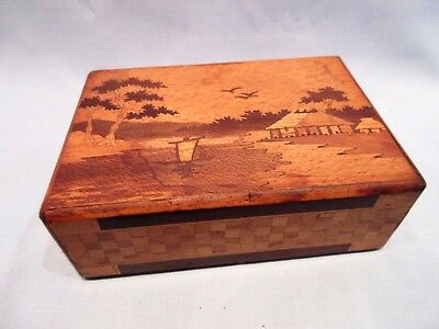 Beautiful Vintage Japanese Puzzle Box - Two Sided Mount Fuji - 3 Step - Treen