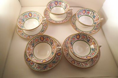 Vintage Minton England Florentine Dragon Cameo Set of 5 Cups & Saucers