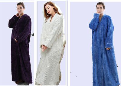 Zipped Dressing Gown Fleece Ladies Womens Hooded Robe Long Length
