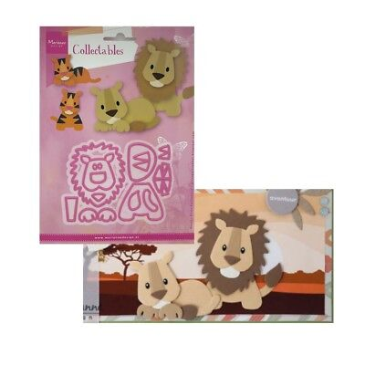 Lion Tiger metal die cut set Eline's Cutting Dies Marianne COL1455 Zoo Animals
