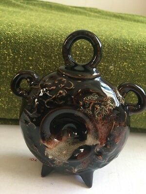 Asian Clay Pottery  Bell High Relief Dragon Signed Drip Glaze Vintage