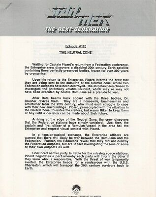 "Star Trek TNG Episode 126 Promo Episode Press Notes ""The Neutral Zone"""
