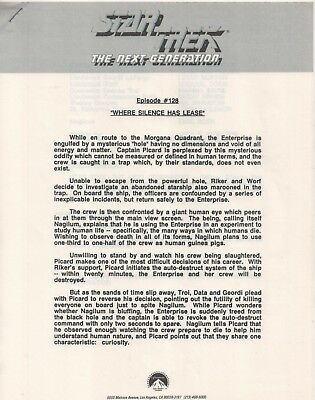 "Star Trek TNG Episode 128 Promo Episode Press Notes ""Where Silence Has Lease"""