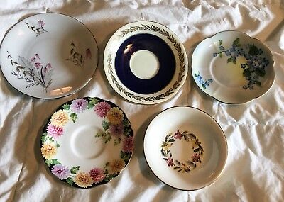 Lot Of 5 Antique Fine And Bone China Saucers/ Plates- Paragon, AYNSLEY, HM Queen