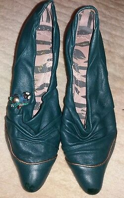 Irregular Choice Teal Coloured leather shoes Gold Trim & Metal Bird Brooch