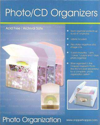 Photo Organizers Cropper Hopper CD DVD Negs 4 Colors Clear Pink Purple Blue NEW