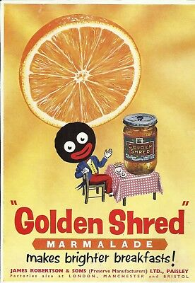 TWO BLACK DOLL original ads 1953 from ENGLAND for GOLDEN SHRED MARMALADE GOLLI !