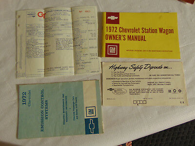 OEM 1972 Chevrolet Station Wagon Owner's Manual with Original Purchase Receipt