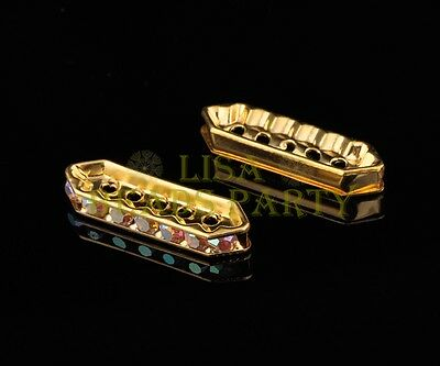 10pcs 27x8mm Crystal Rhinestones 5 Holes Bar Spacer Beads Findings Gold AB
