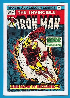 """Invincible Iron Man #71_November 1974_Fine/very Fine_""""and Now It Begins...""""_Uk!"""