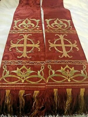 Gorgeous Rare Vintage Catholic Priests Red Silk Brocade Embroidered Stole