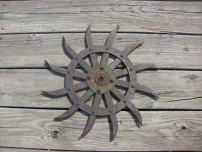 JD Rotary Hoe Wheel Sunflower Yard Garden Wall Art Decor SteamPunk 16""