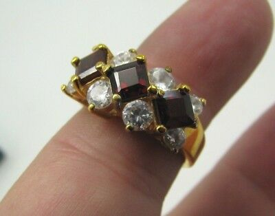 14K YELLOW GOLD / Sterling Silver RED GARNET CZ COCKTAIL RING Princess/Square 8