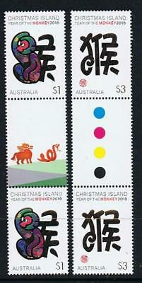 STAMPS AUSTRALIA  CHRISTMAS ISLAND 2016 Year of the MONKEY GUTTER   (MNH) xx2