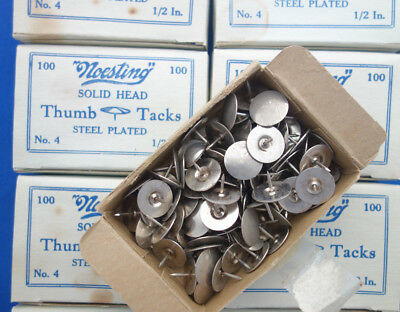 vintage Noesting No 4 steel plated Thumb Tacks solid large head 1/2 inch