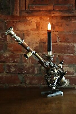 Steampunk Light & Candle Holder Combination Made From Microscope One-of-a-Kind