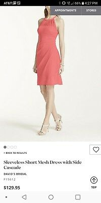 """Davids Bridal Bridesmaid Dress Short Size 0 Color: """"coral reef"""" Worn only once."""
