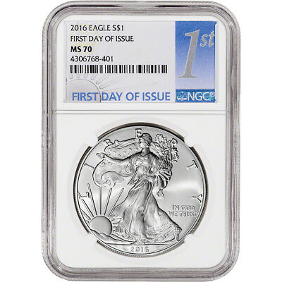 2016 American Silver Eagle - NGC MS70 - First Day of Issue - 1st Label