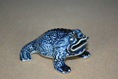 Fine Antique Chinese Blue And White Porcelain Figurine Of Frog Marked Xuande H90