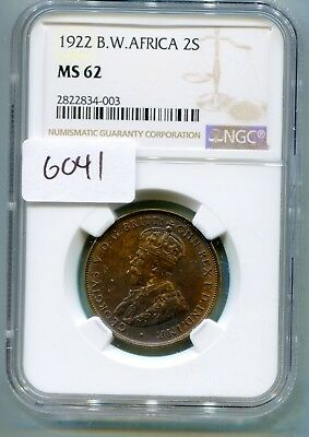 British West Africa 2 Shillings 1921 NGC MS-62  lotsept6041