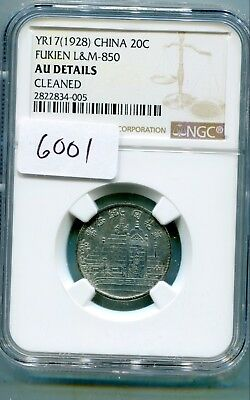 China-Fukien Province 20 Cents year 17 (1928) Y-389.1 NGC AU Details lotsept6001