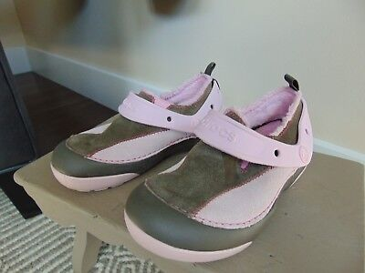Kids Girls Crocs Dawson Faux Fur Lined Pink Brown  Size 1