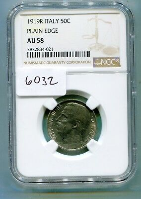 Italy 50 Centesimi 1919 Smooth edge  very rare key date NGC AU 58  lotsept6032