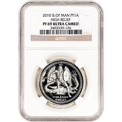 2010 Isle of Man Platinum 1 oz High Relief Proof Angel - NGC PF69 UCAM