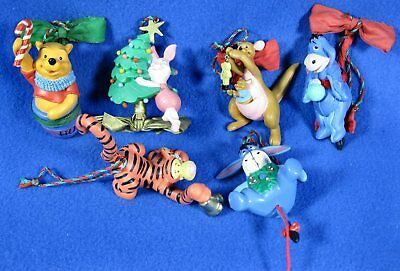 Lot of 6 Disney Winnie The Pooh Christmas Tree Ornaments Bows Bells Moving