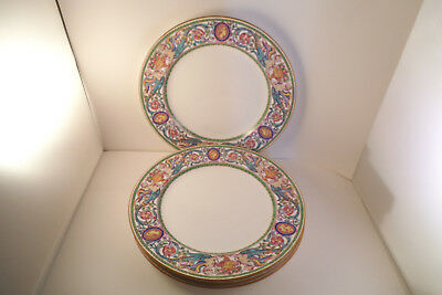 Vintage Minton England Florentine Dragon Cameo Set of 4 Lunch Plates