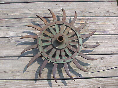 "JD Rotary Hoe Wheel Sunflower Yard Garden Wall Art Decor SteamPunk 19"", 4"" hub"