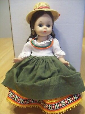 """VINTAGE MADAME ALEXANDER  8""""  BKW DOLL """"ECUADOR""""  WITH EARRINGS  Hard to Find"""