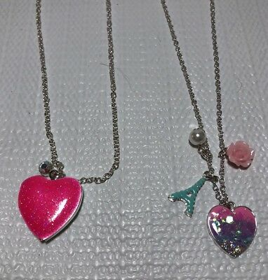 2 Justice Girls Costume Jewelry Necklaces Pink Glitter Heart Locket Eiffel Tower