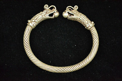 china Culture style old Exquisite intertwine myth dragon Head men Bracelet gift