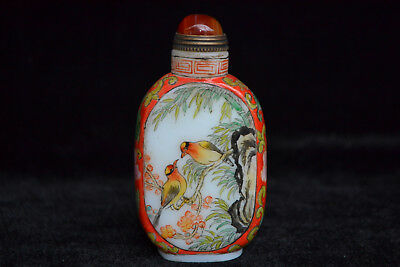 collectible china culture coloured glaze relief love bird Snuff Bottle Ancient