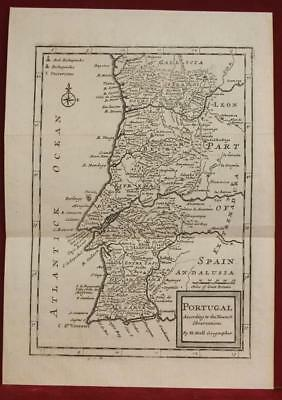 Portugal 1711 Hermann Moll Antique Original Copper Engraved Map