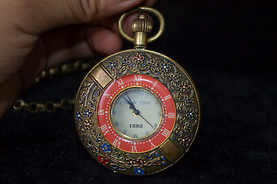 Clock Copper flower good Used Manual Mechanical armstrong's patent Pocket Watch