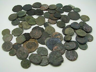 LOT OF 76 ANCIENT COINS Money Greek? Roman? UNCHECKED UNRECOGNIZED Bronze 140grm
