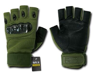 US Half Finger Army Military Knuckle Special Forces Handschuhe Gloves OD Green L